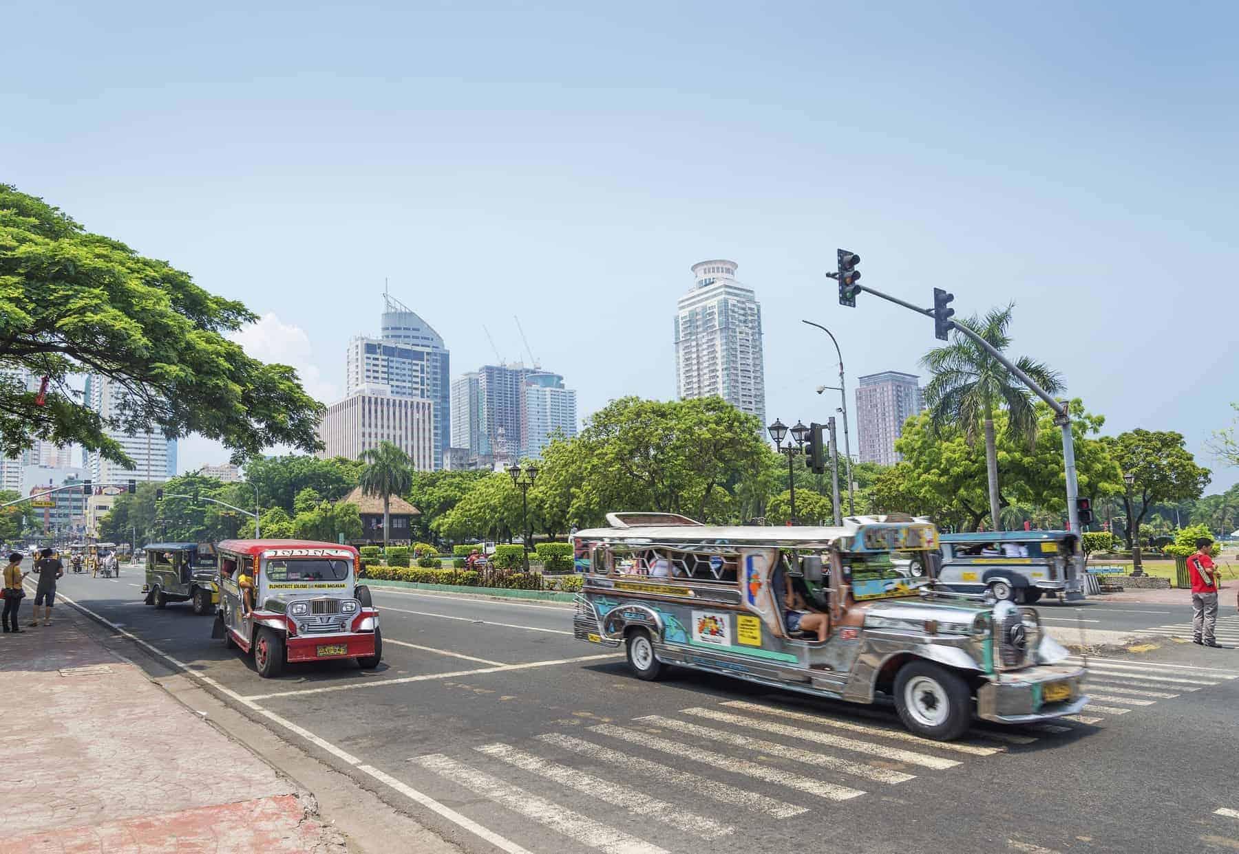 jeepneys in rizal park of manila philippines