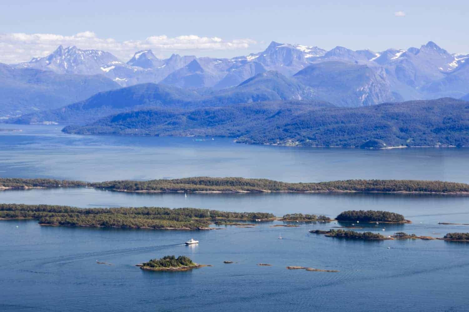 Molde in Norway , the sea and the moutains and a small harbour
