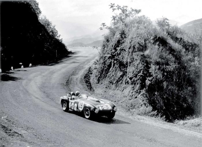 Umberto Maglioli of Italy, winner of the fifth and final Carrera PAnamericana, in the Ferrari 375 Plus.