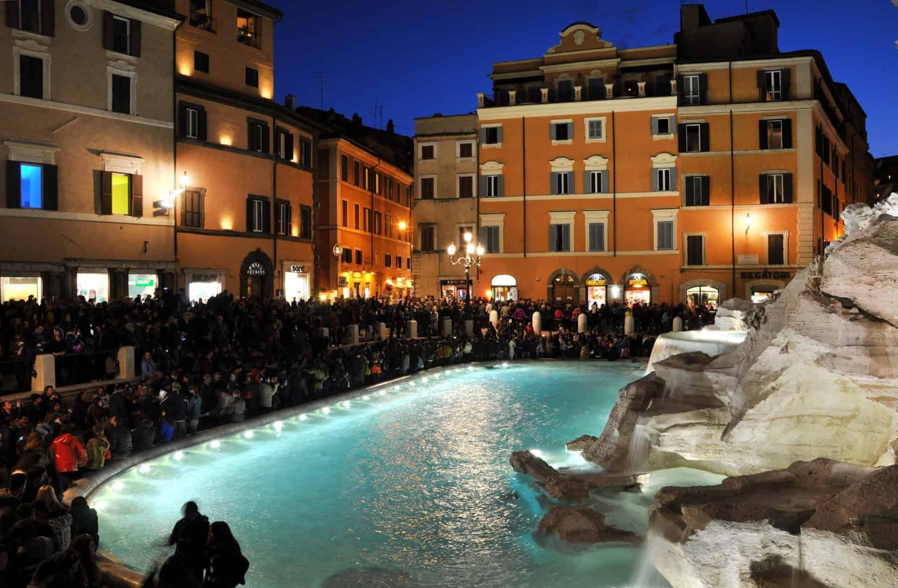 The Trevi Fountain illuminated at night (Fontana di Trevi), Rome