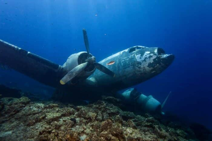 Maldives, dykkerferie aircraft vrag fra World War II.