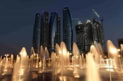 Abu Dhabi at dusk, United Arab Emirates