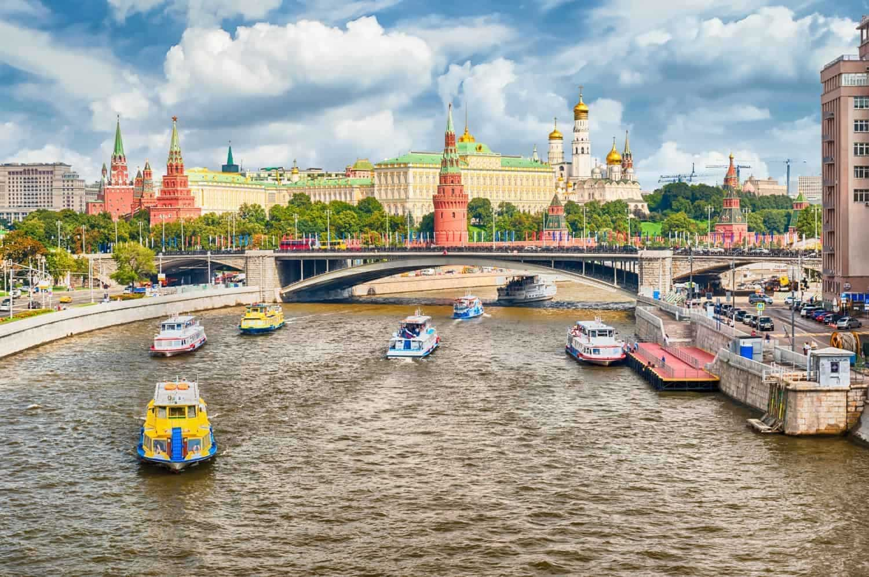 Moskva River og Kremlin i det centrale Moskva, Rusland