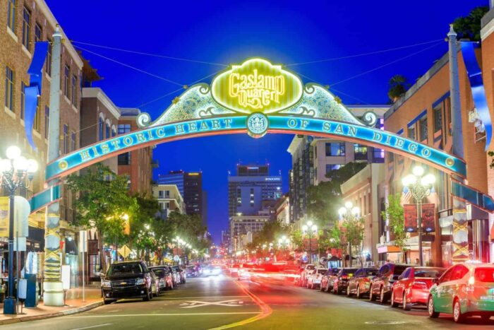 SAN DIEGO-SEP 28, 2014: The Gaslamp Quarter in San Diego, California, on September 28, 2014 The Gaslamp Quarter extends from Broadway to Harbor Drive, and from 4th to 6th Avenue.