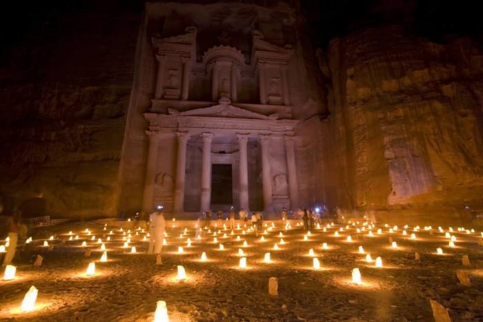 The Treasury at Petra Jordan lit at night