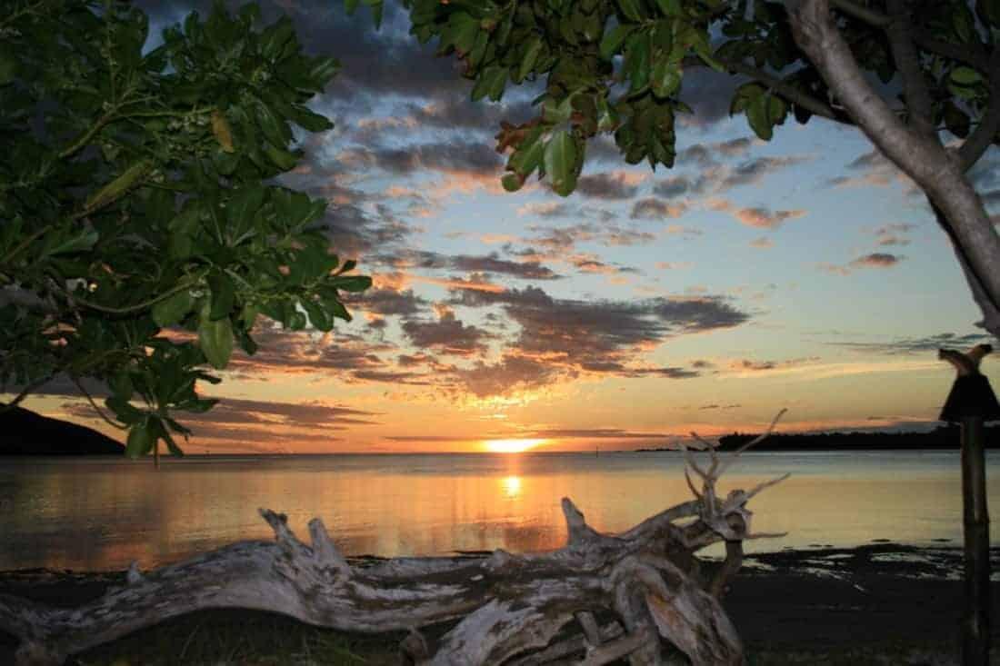 Sunset over the beautiful Fiji islands