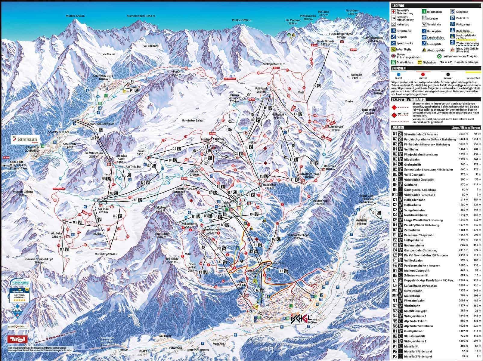 Samnaun Piste map