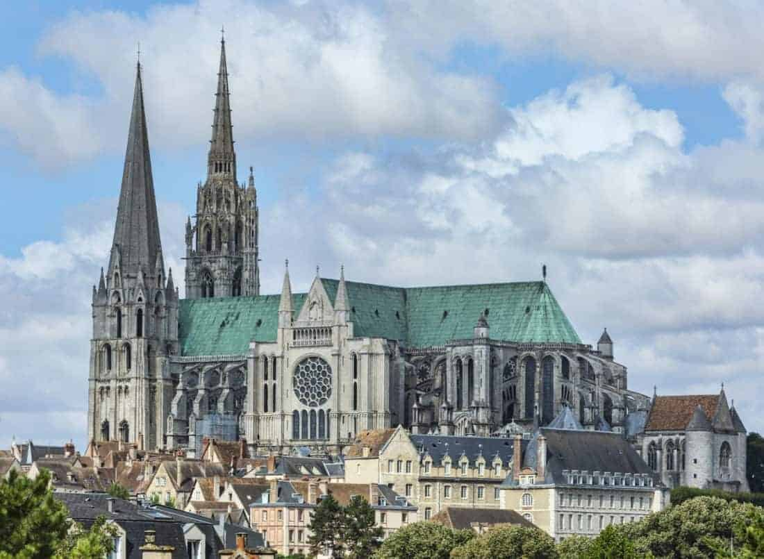 Chartres Cathedral is located in Chartres 80 km southwest of Paris and is considered to be one of the most prestigious Gothic buildings in France.
