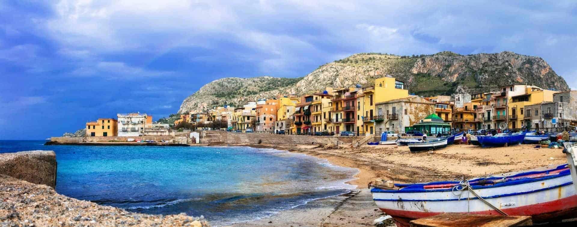 Traditional fishing village Aspra in Sicily, Italy