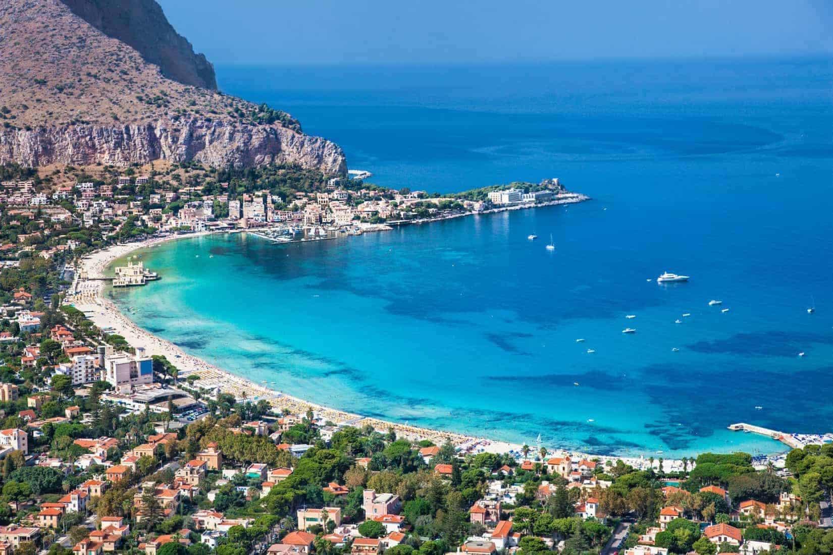 Sicily. Mondello white beach outside Palermo