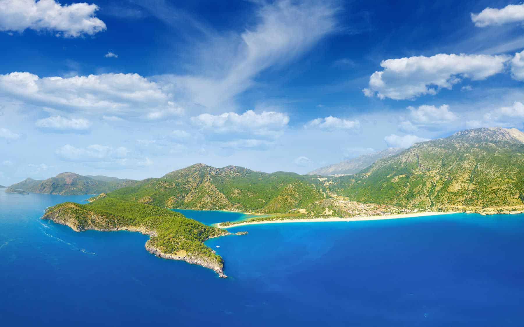 Aerial view of beautiful blue lagoon and coastline in Oludeniz, Fethiye district, Turquoise Coast of southwestern Turkey