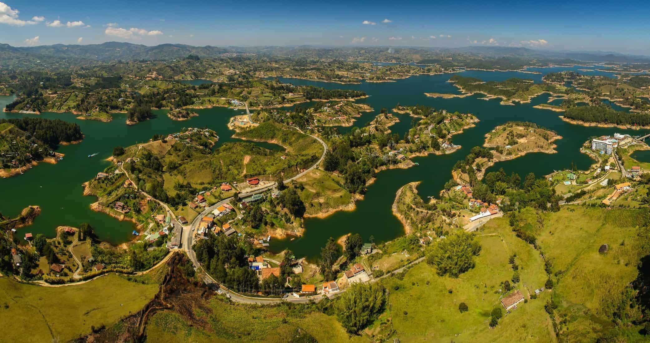 Beatiful landscape from Penol rock view point near town of Guatape, Colombia
