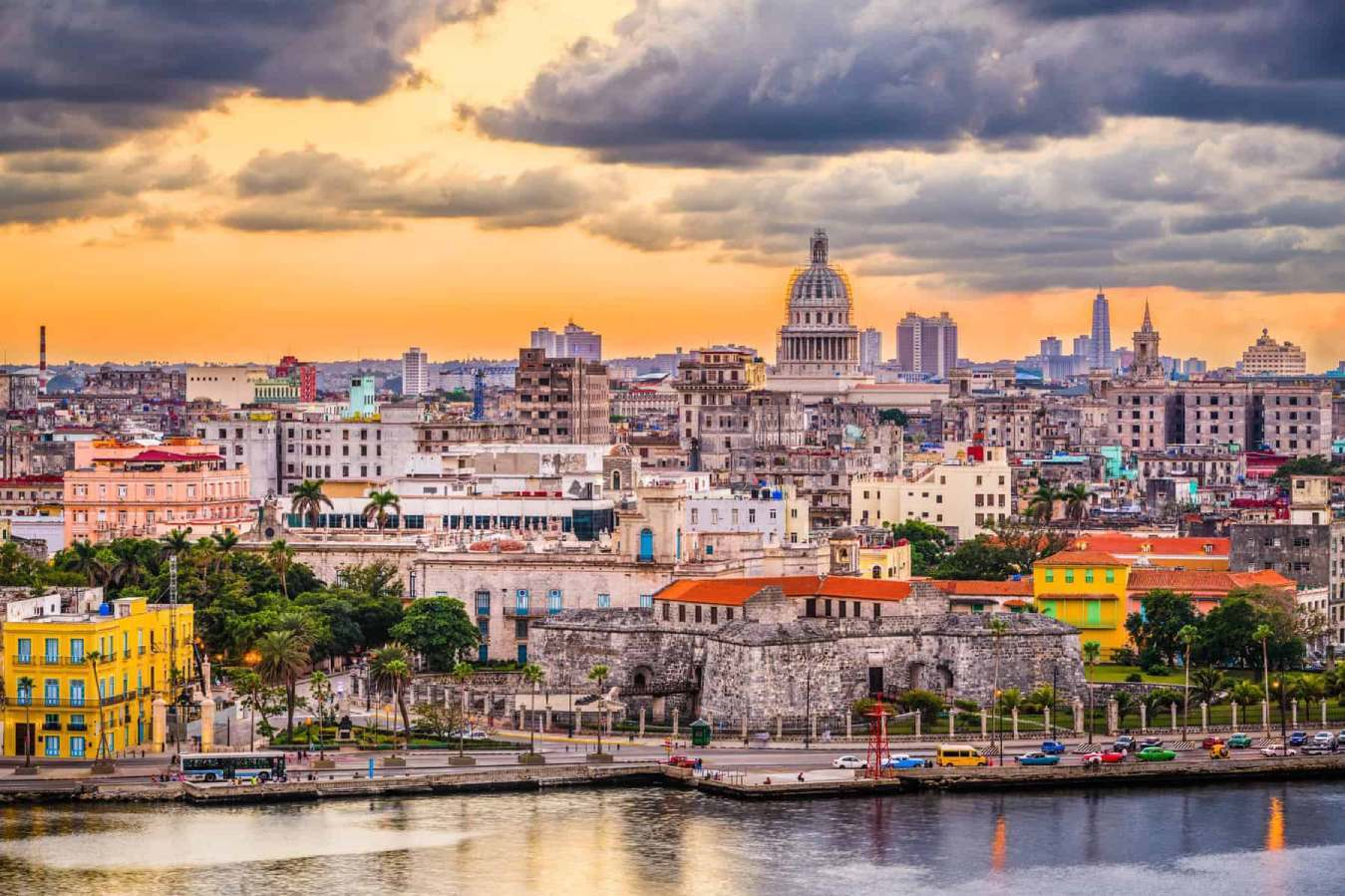 Havana, Cuba downtown skyline with the Capitolio at sunset.