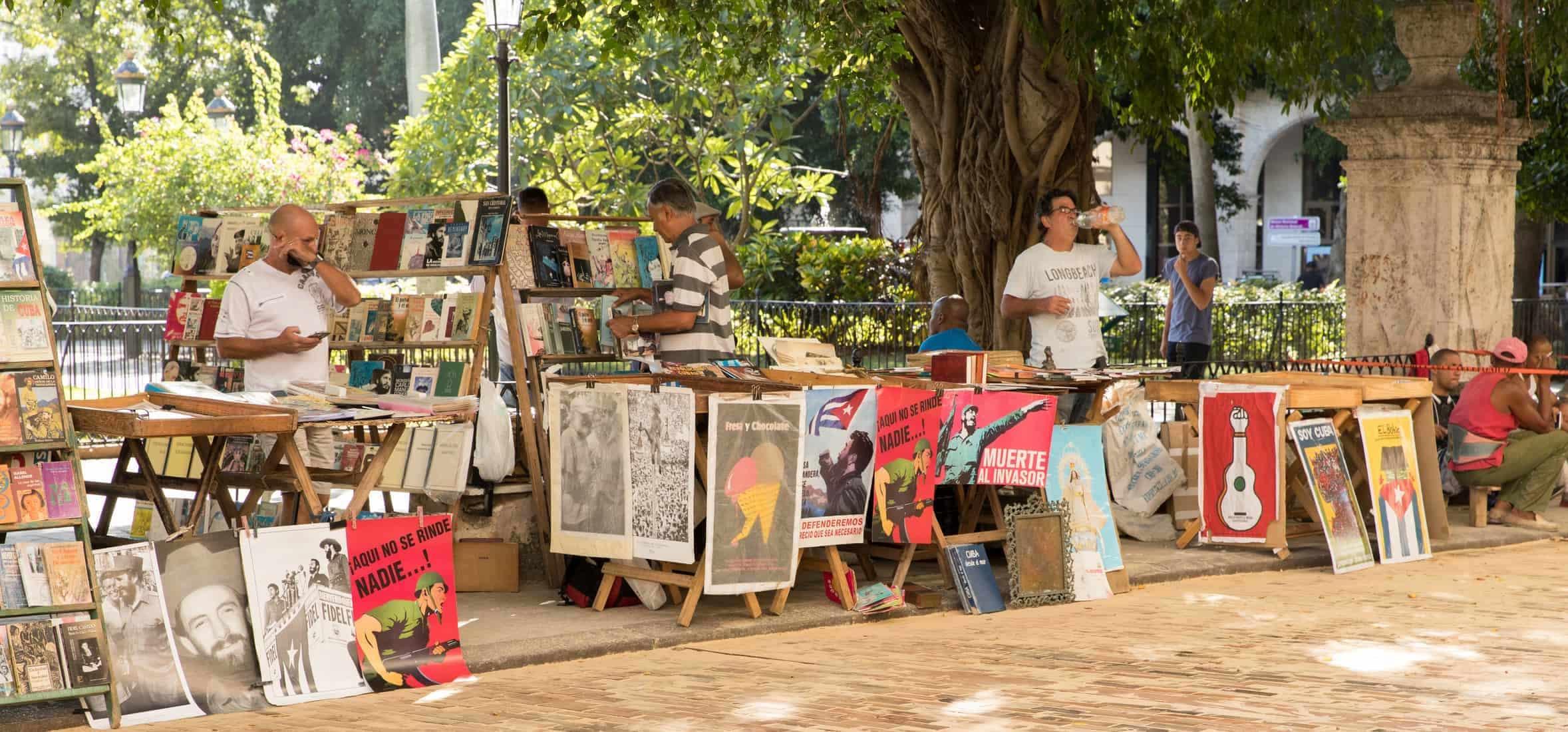 Booksellers near Plaza de la Catedral in Old Havana, Cuba - October 24, 2016