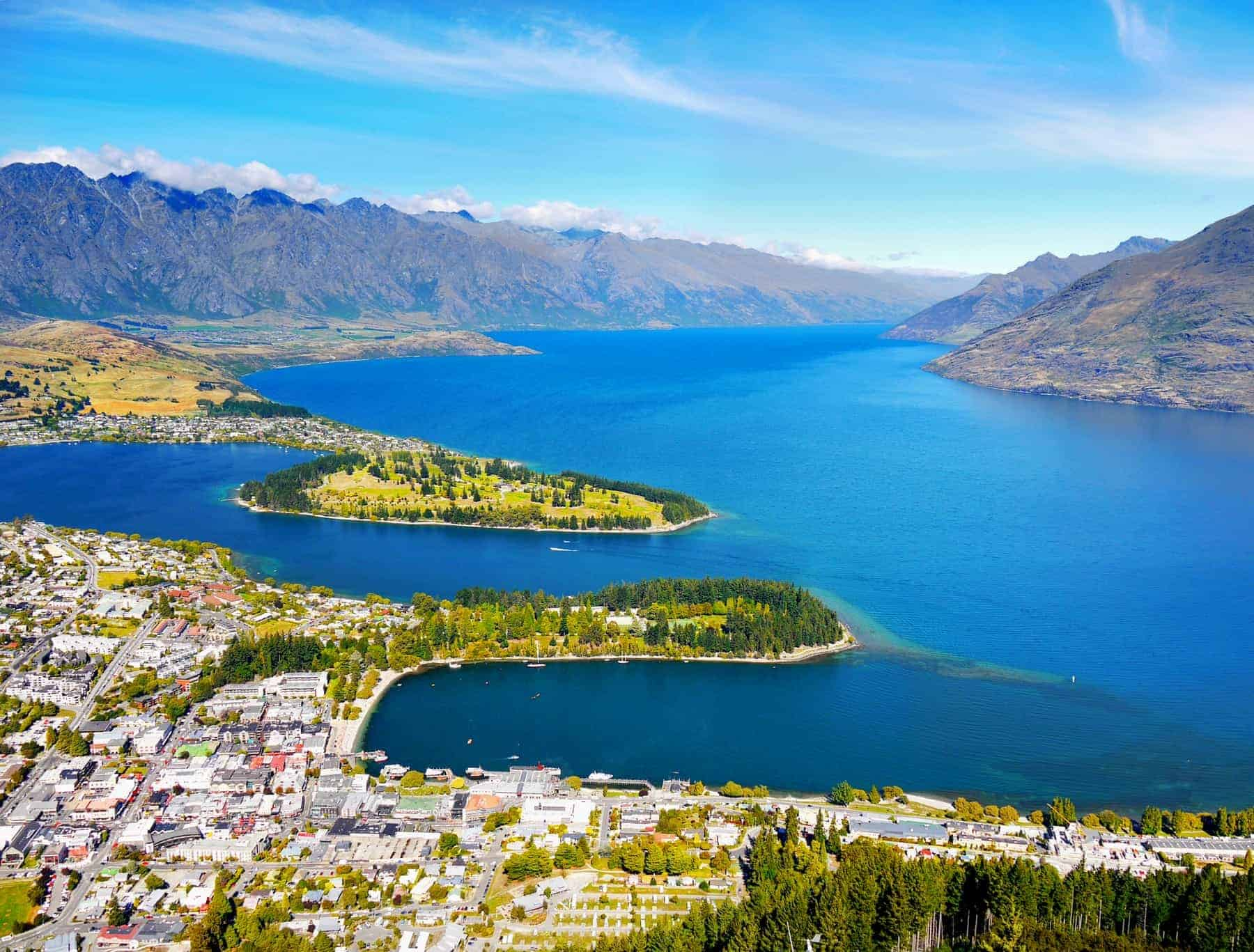 New Zealand - South Island - Queenstown. Beautiful mountains landscape scenery with blue lake. Pacific Islands, Oceania