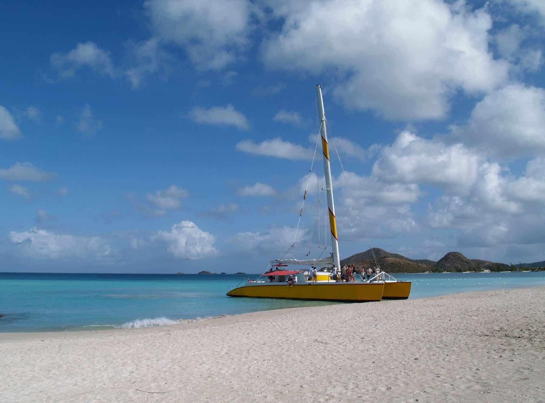 Catamaran at Jolly beach on