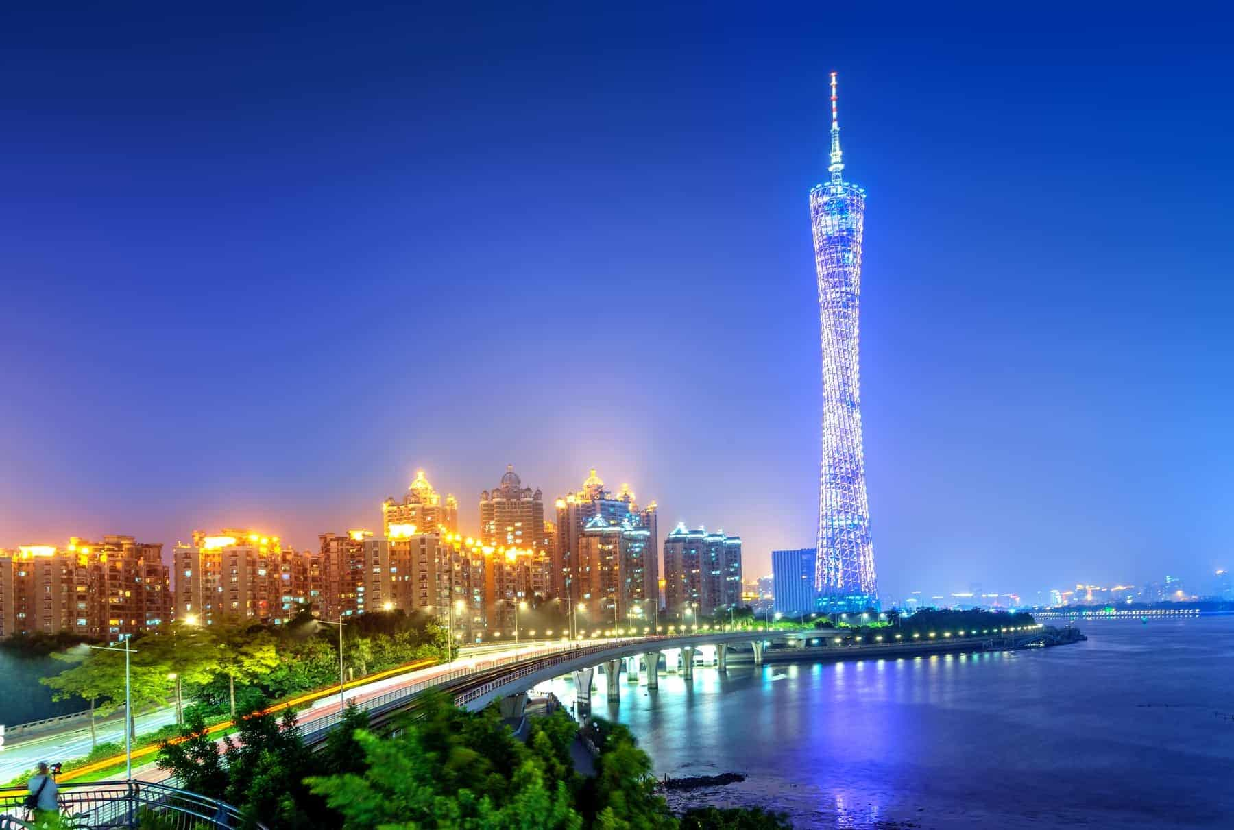 View of Canton tower (600m) in Guangzhou. One of the most famous landmark in Guangzhou city.