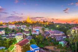 Yangon, Myanmar skyline with Shwedagon Pagoda.