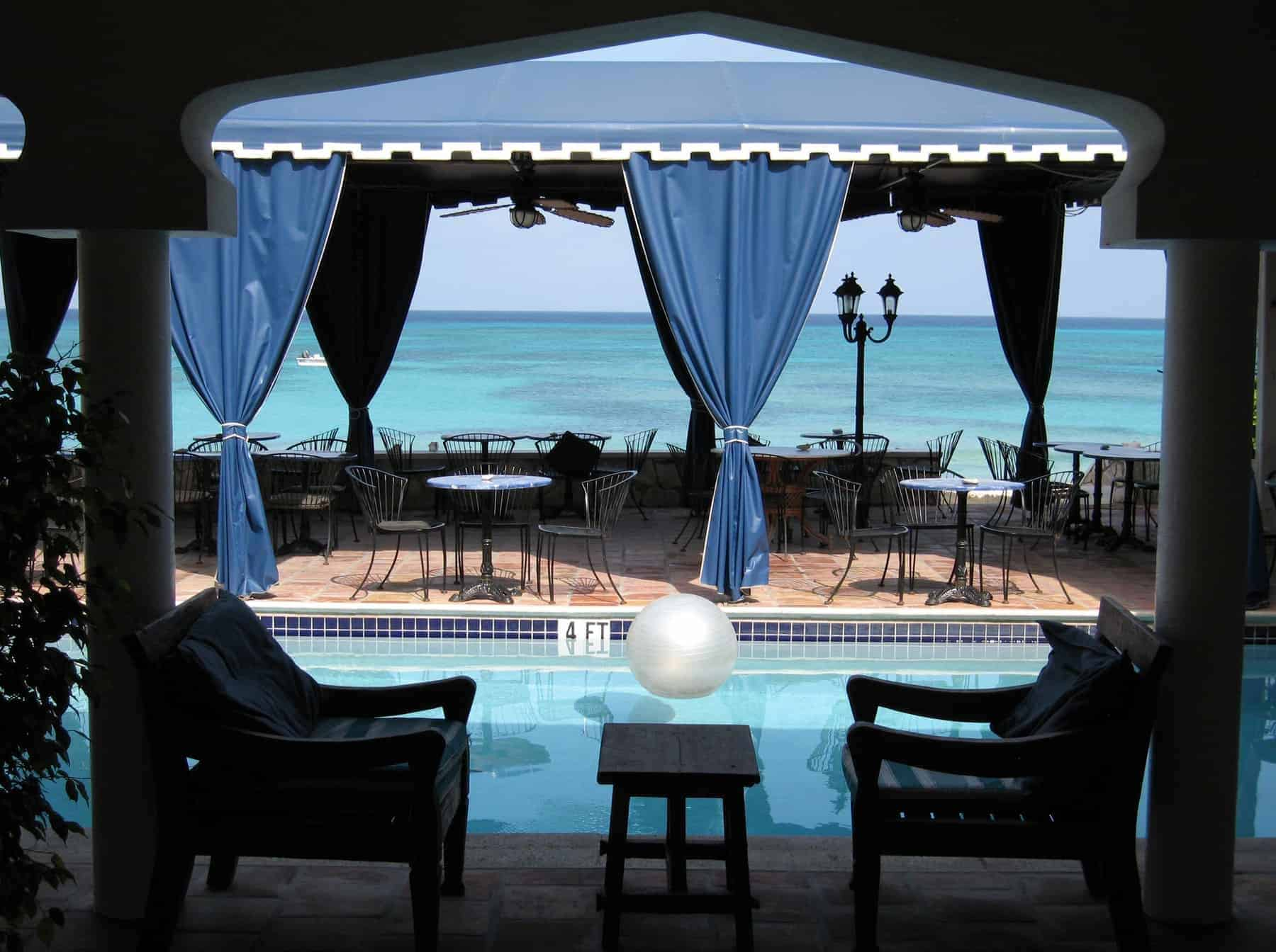 Open foyer of a hotel on grand turk, turks & caicos, overlooking the carribean sea;