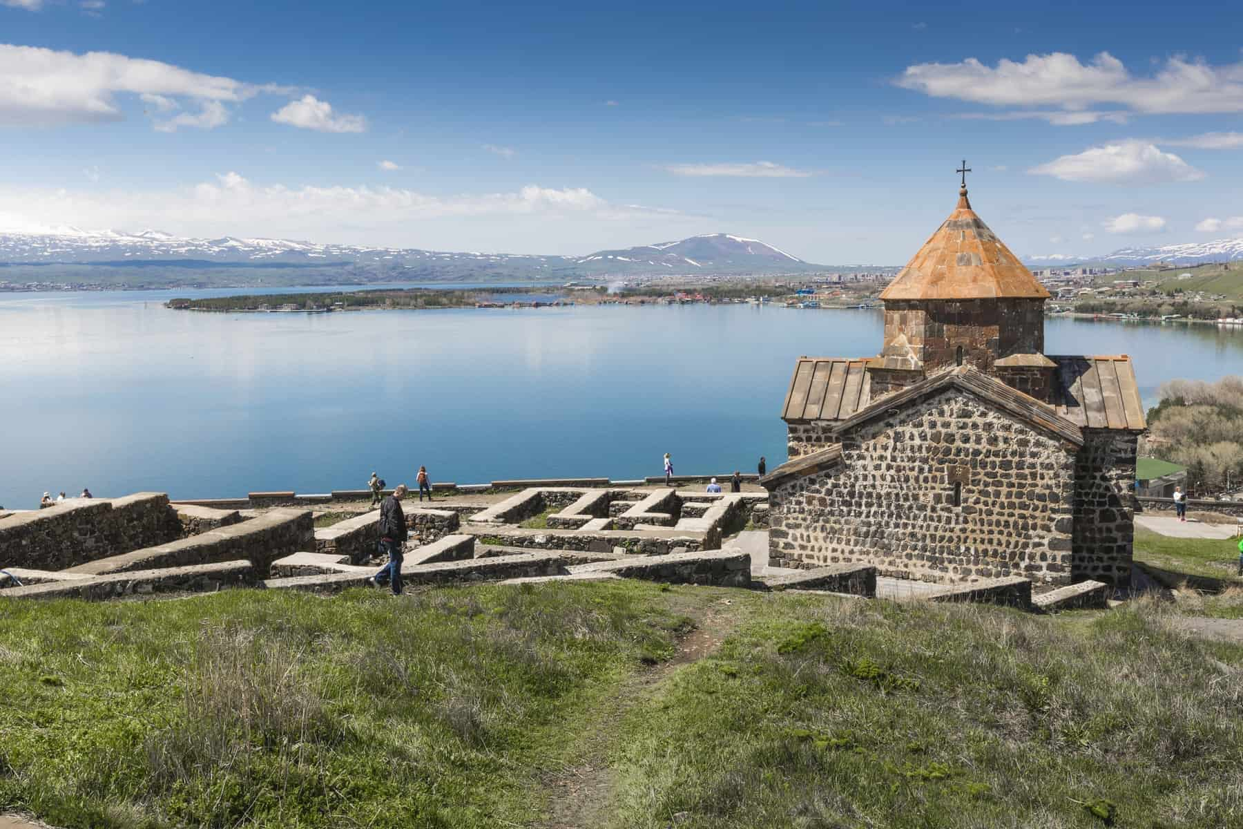 The 9th century Armenian monastery of Sevanavank at lake Sevan