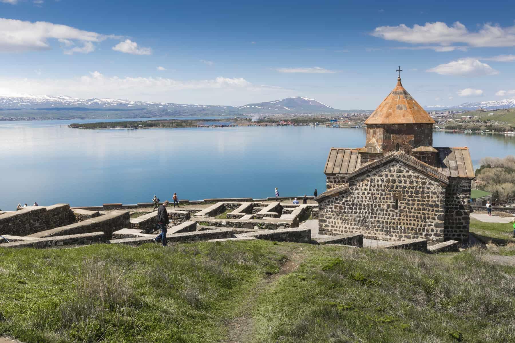 The 9th century Armenian monastery of Sevanavank at lake Sevan
