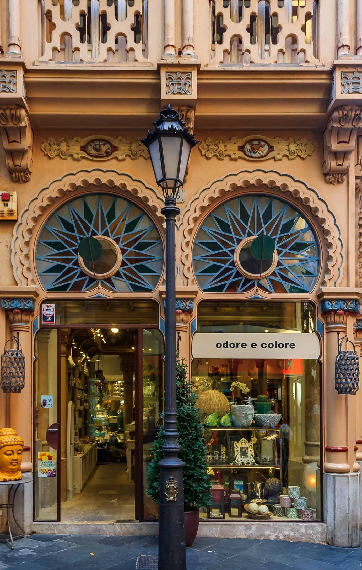 Colorful facade of a building with an Antoni Gaudi inspired architecture design in Palma de Mallorca in Mallorca on Balearic islands in Spain