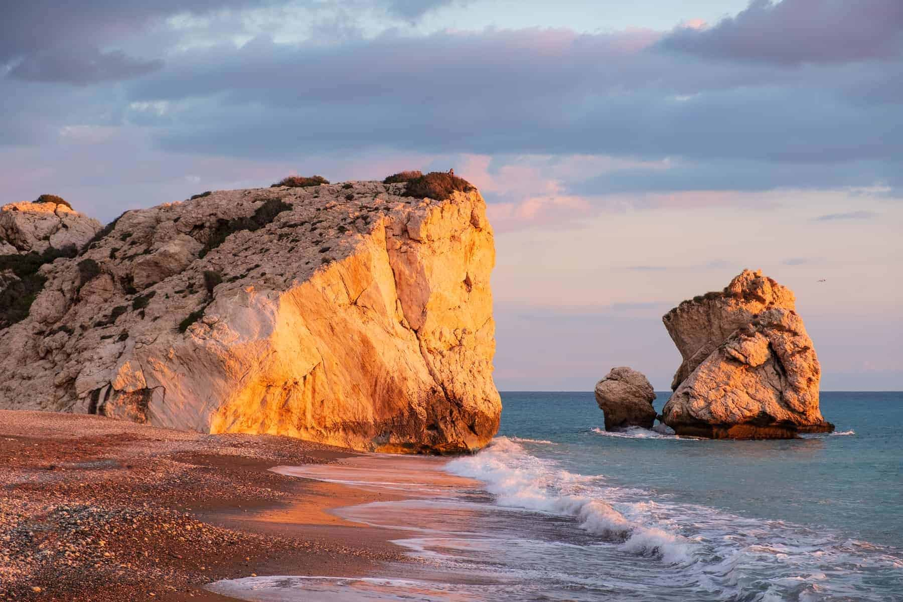 Beautiful afternoon view of the beach around Petra tou Romiou, in Paphos, Cyprus. It is considered to be Aphrodite's birthplace in Greek mythology.