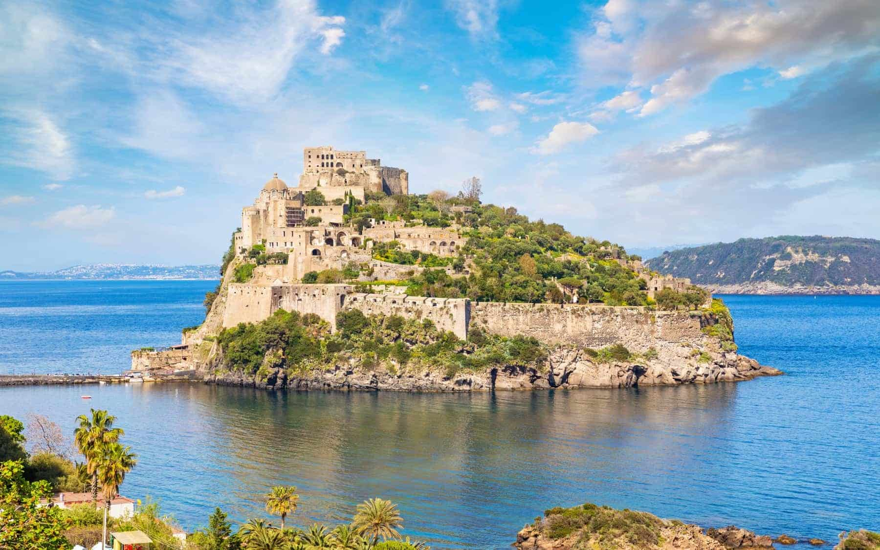 Aragonese Castle or Castello Aragonese is most visited landmark and tourist destination near Ischia island, Italy.