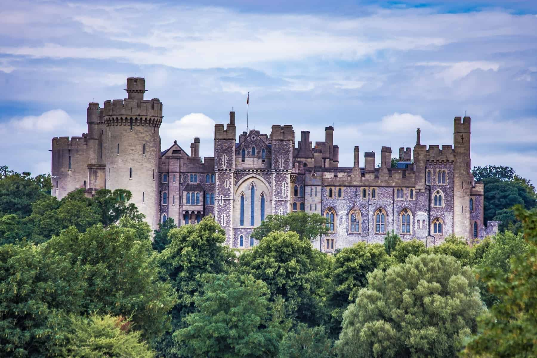 English old castle Arundel Castle River Arun West Sussex England Europe