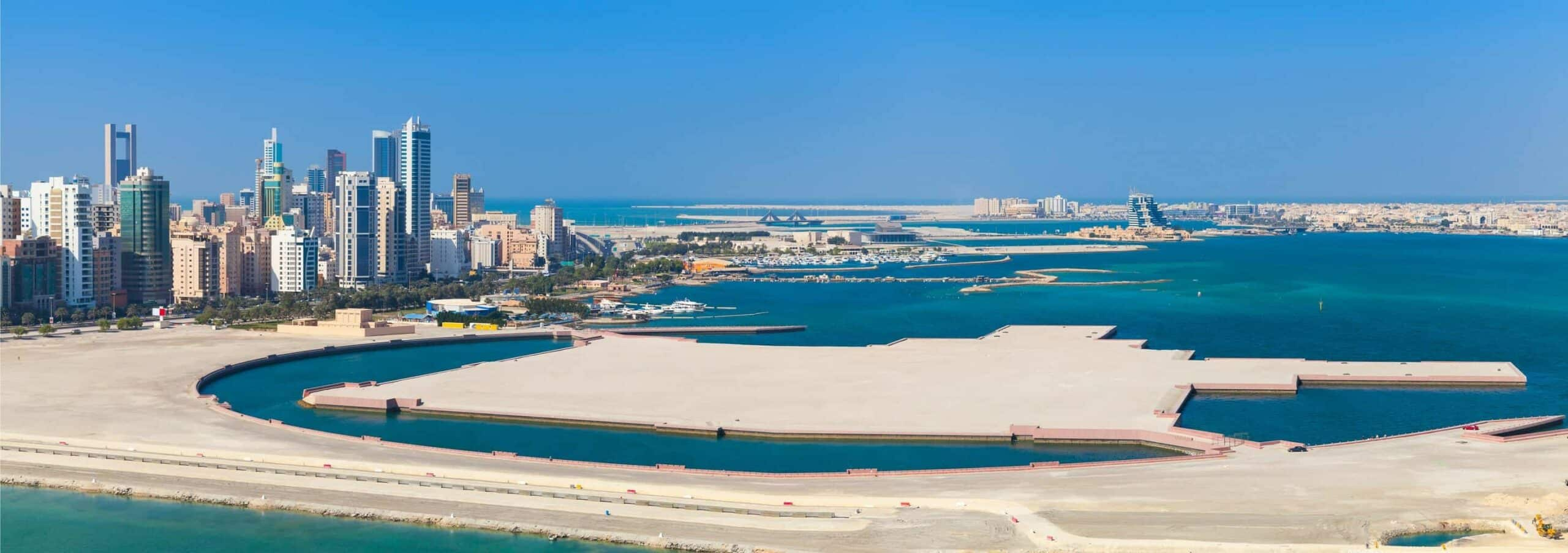 Bird view panorama of Manama city, Bahrain