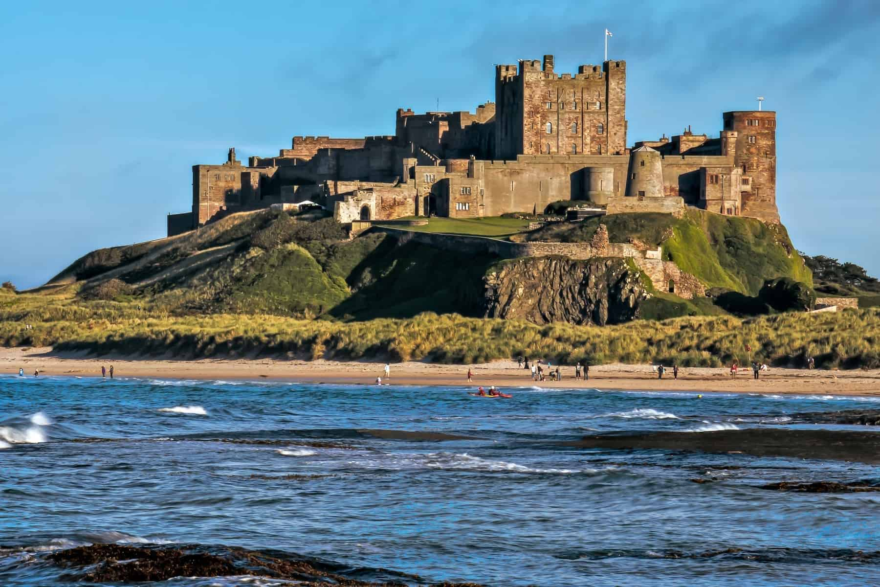 BAMBURGH, NORTHUMBERLAND View of Bamburgh Castle in Northumberland on