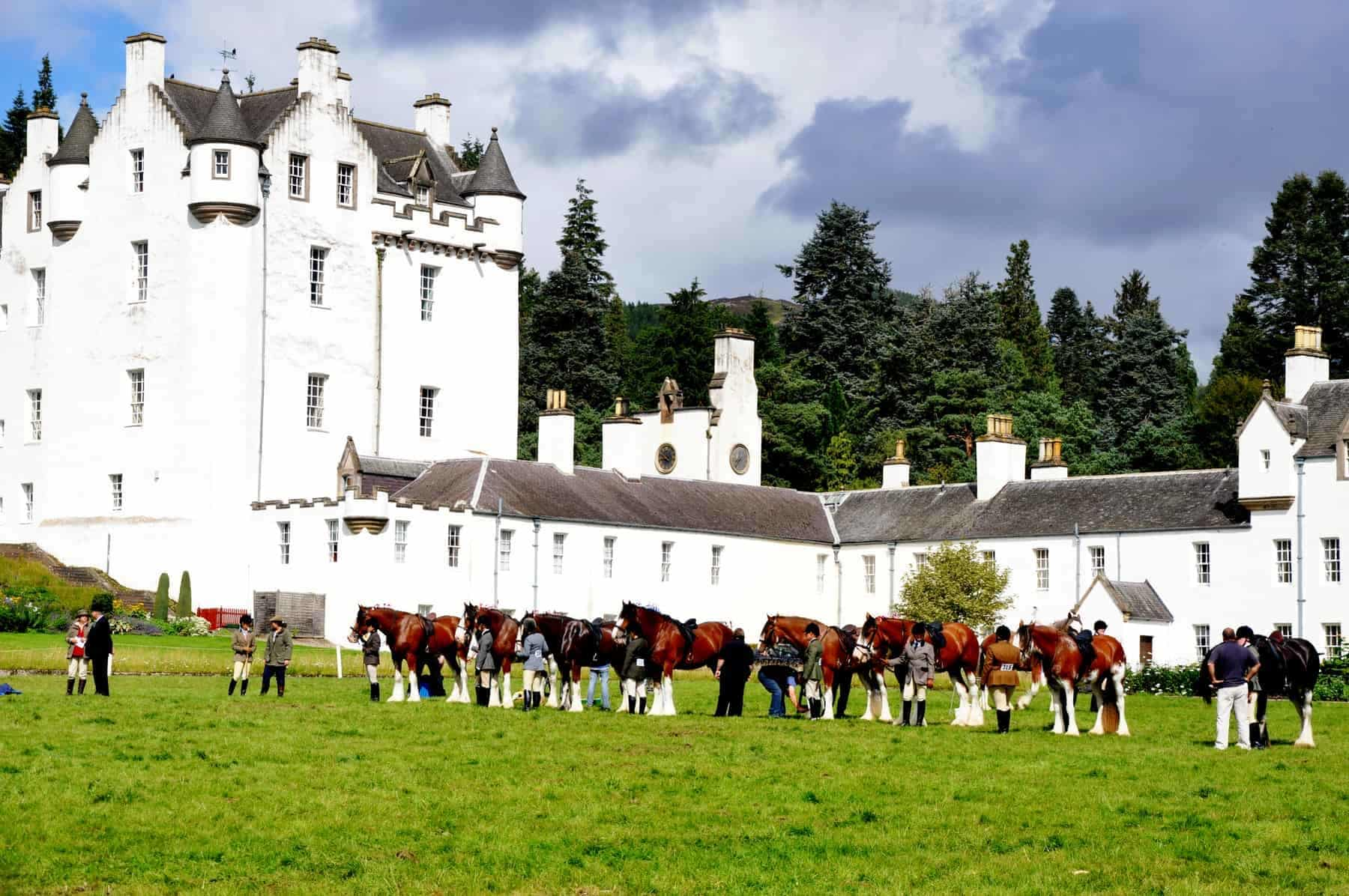 In August, Blair Castle in Scotland hosts a country fair with horse trials.