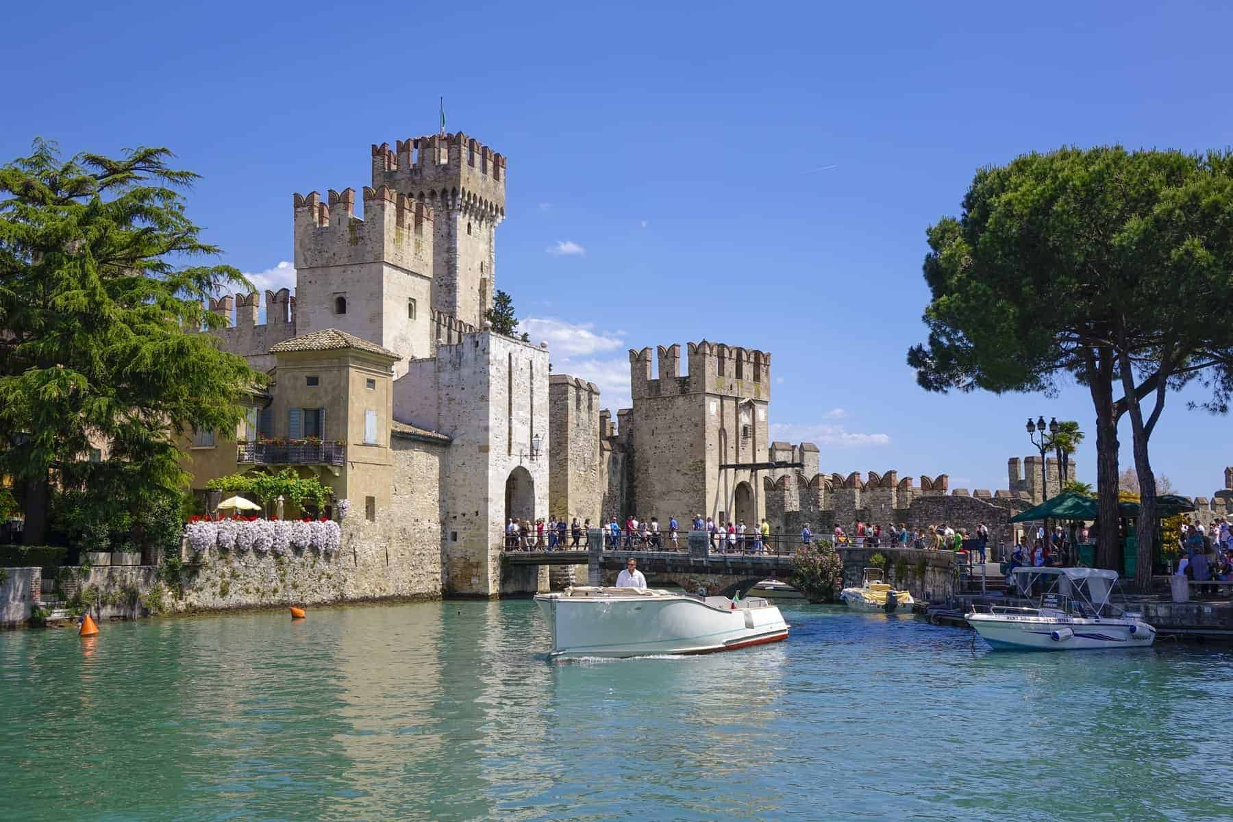 Castello Scaligero in Sirmione on Lake Garda, Lombardy, Italy, Europe