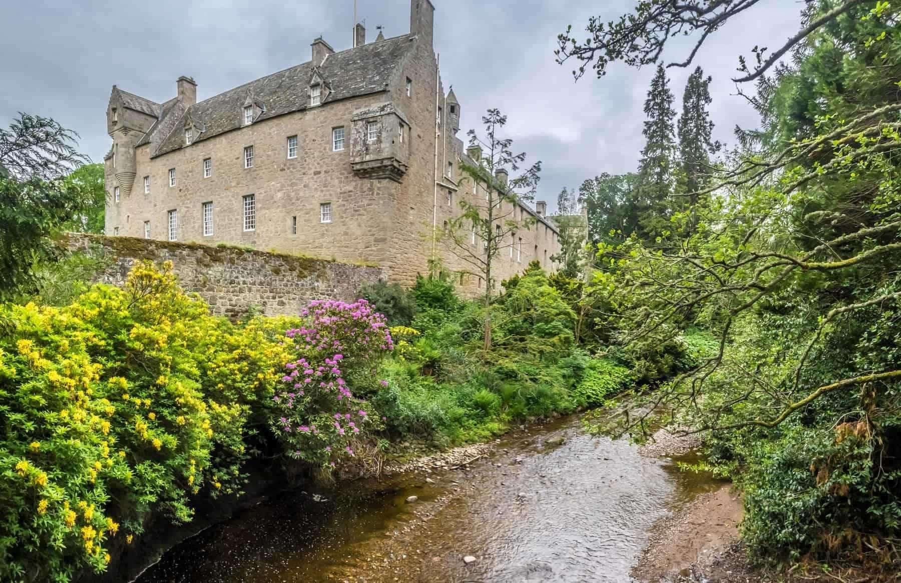 Cawdor castle and its magnificent laburnum arch and river - Scotland