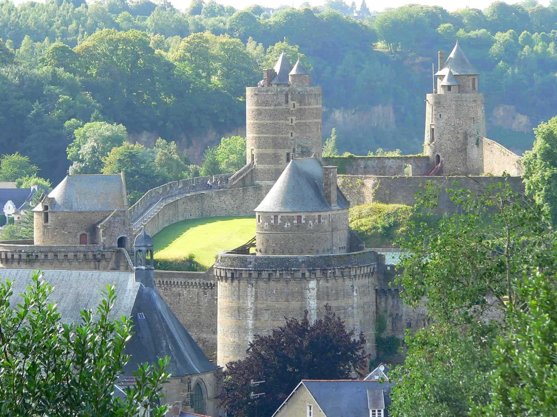 Overview of the Château de Fougères, Ille-et-Vilaine, Brittany (France).