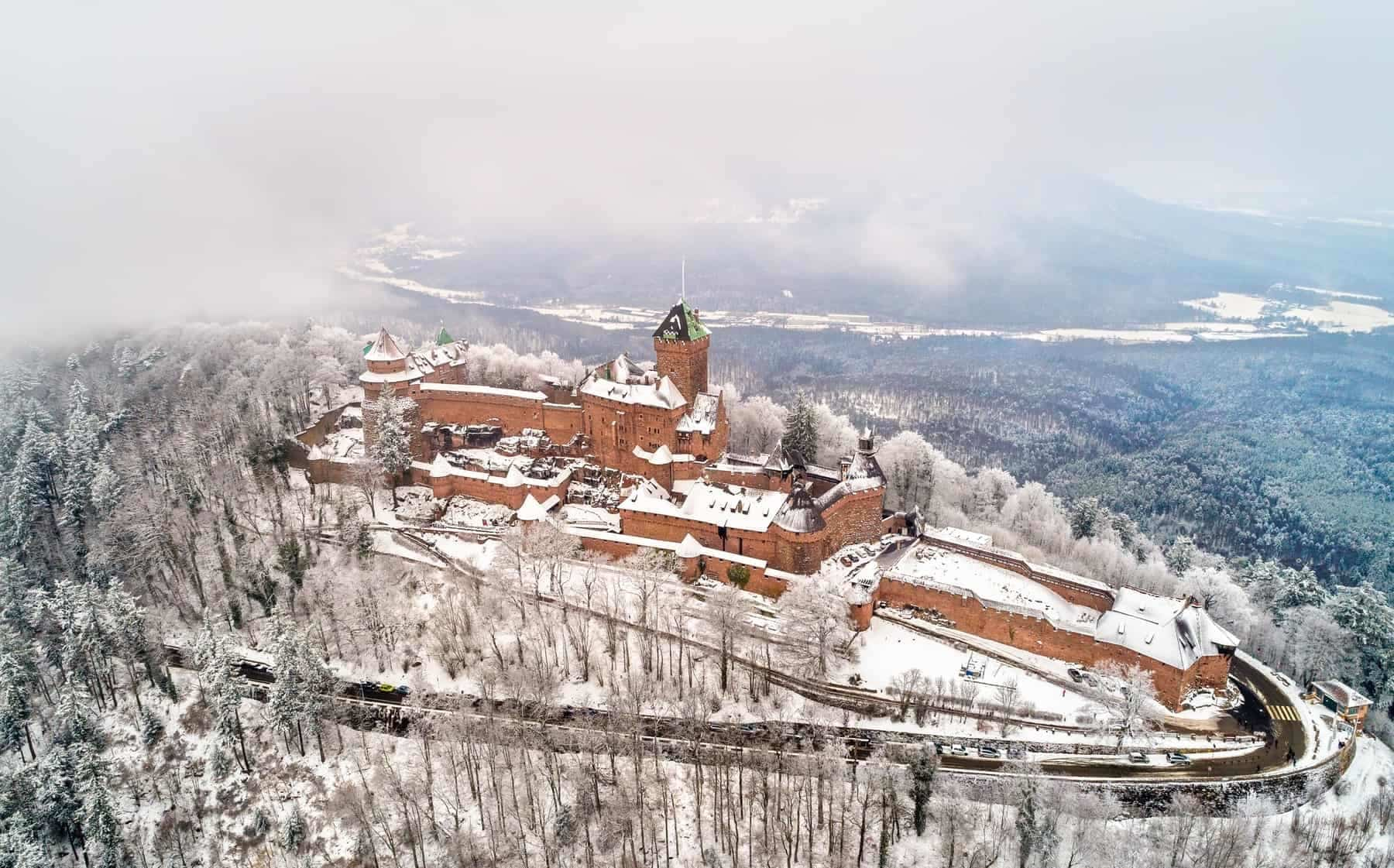 Winter view of the Chateau du Haut-Koenigsbourg in the Vosges mountains. A major tourist attraction in Alsace, France