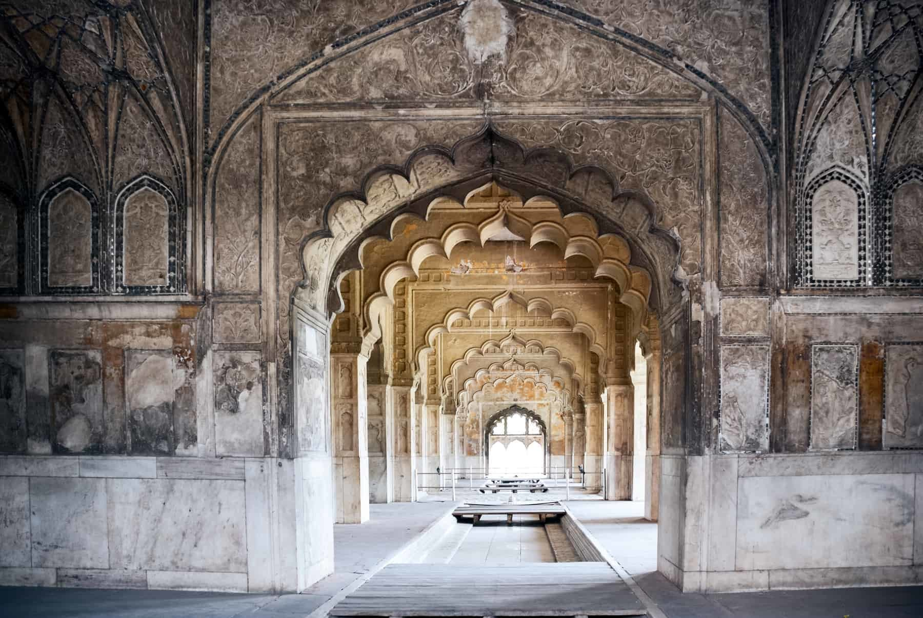 Interior arches of Red Fort in Delhi