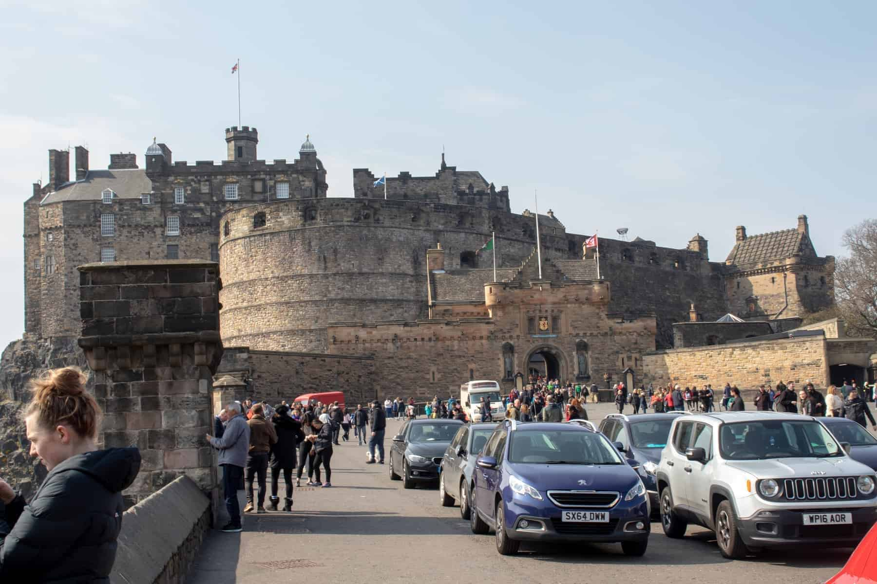 Edinburgh, Scotland view of the busy entrance to Edinburgh Castle