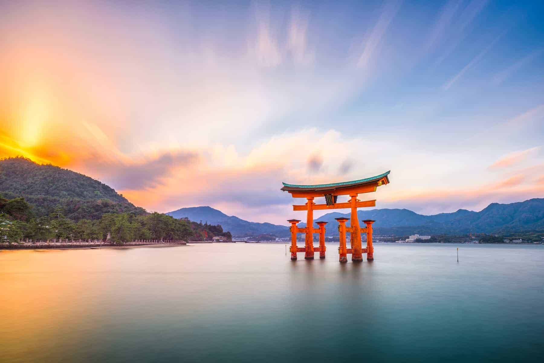 Miyajima, Hiroshima, Japan at Itsukushima Shrine.