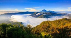 Panorama of Bromo volcano at sunrise,Tengger Semeru national park, East Java, Indonesia