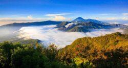 Panorama of Bromo volcano at sunrise,Tengger Semeru national park, East Java, Indonesia