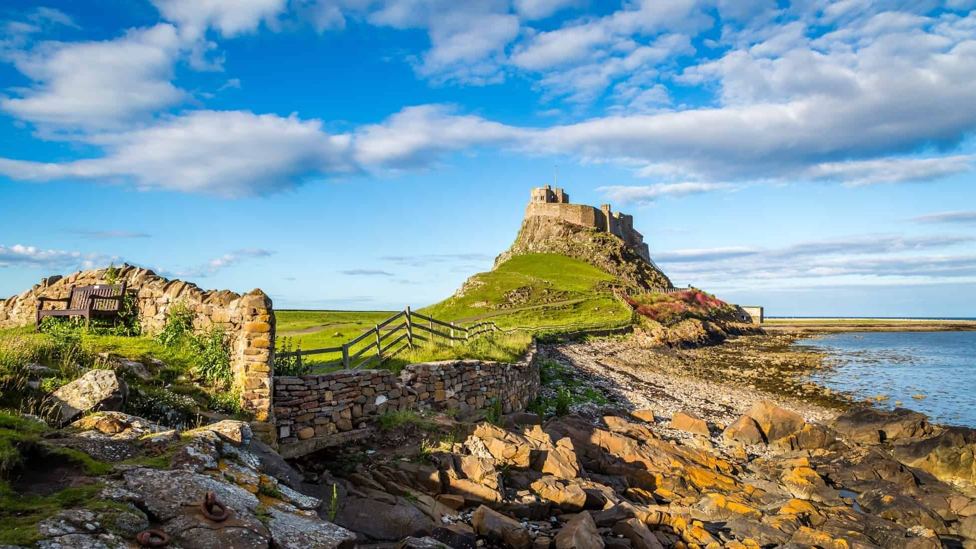 Lindisfarne Castle on the Northumberland coast, Northumberland, England