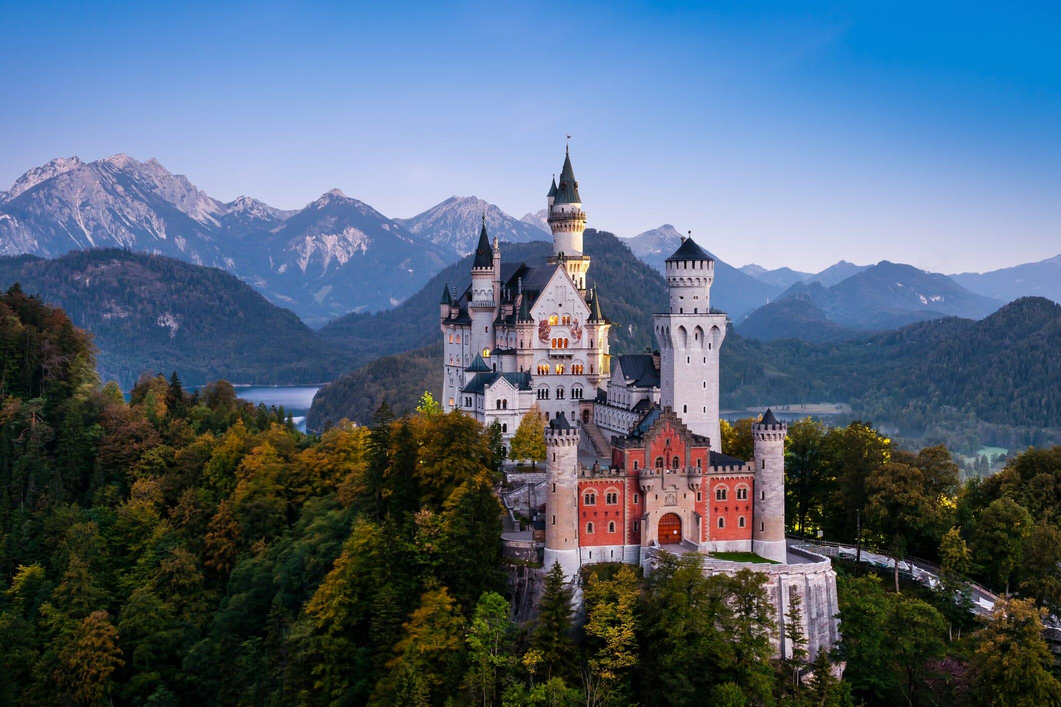 Famous Neuschwanstein Castle in Bavaria, Germany, before sunrise