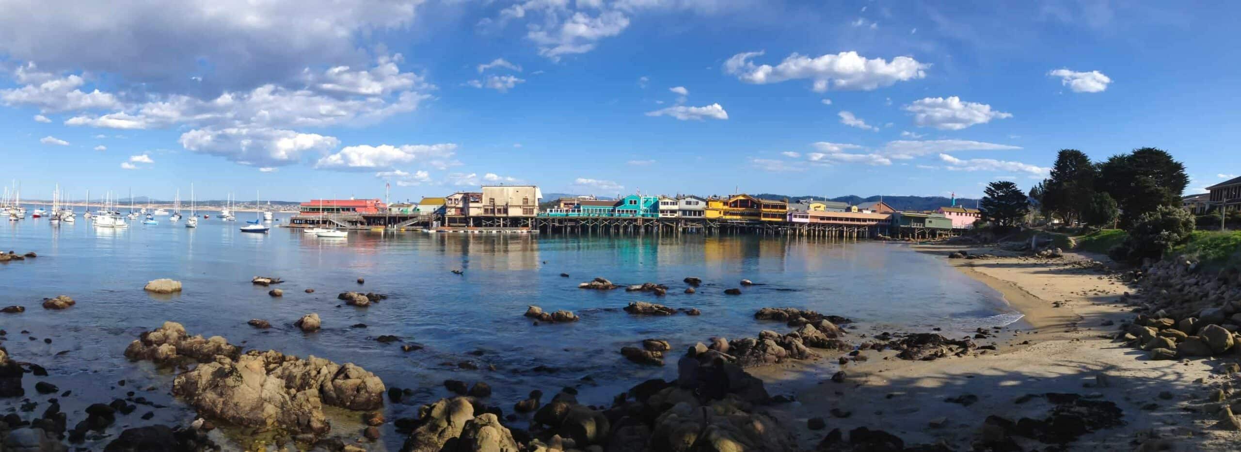 Panoramic View of Fisherman's Wharf at Monterey Bay California