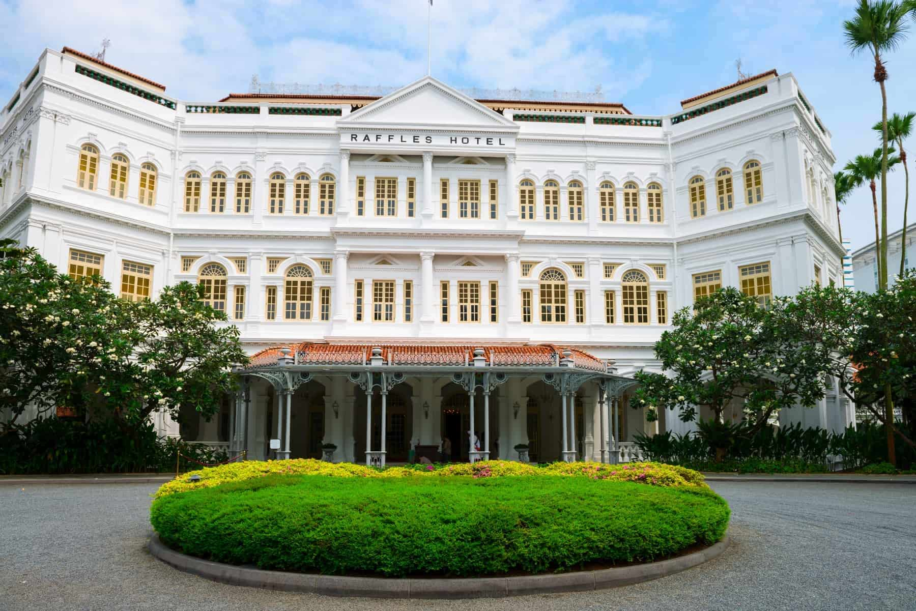 The Raffles Hotel in Singapore, main entrance. Now totally renovated
