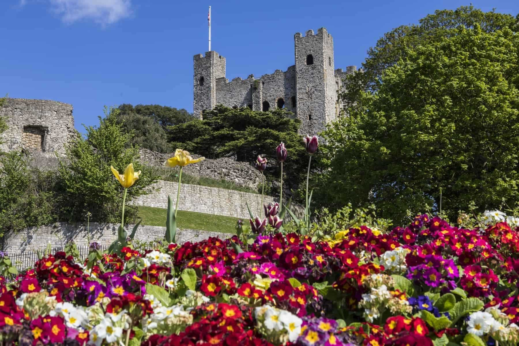 A view of Rochester Castle with beautiful flowers in the foreground, in the historic city of Rochester in Kent, UK.