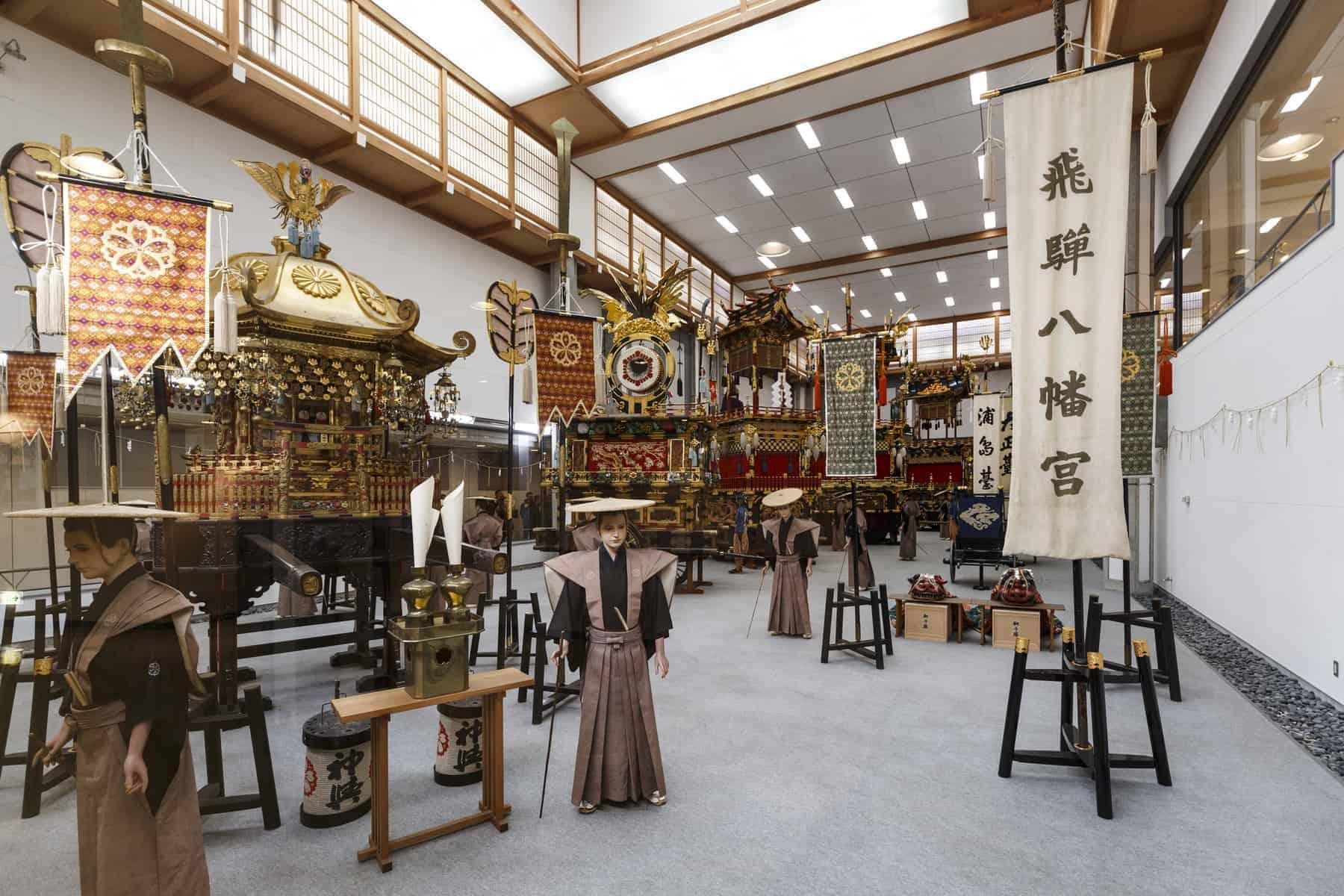 Four of the autumn festival`s eleven floats yatai are exhibited at the Takayama Matsuri Yatai Kaikan a hall next to Sakurayama Hachiman Shrine.