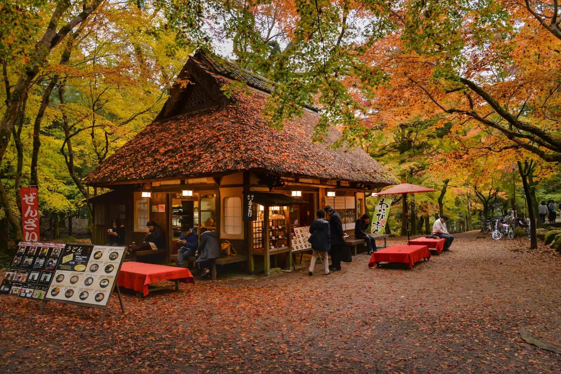 Nara, Japan - November 21,2016: Tourists are taking a rest, having some food and tea at traditional style teahouse after a walk in Nara Park, Nara, Japan