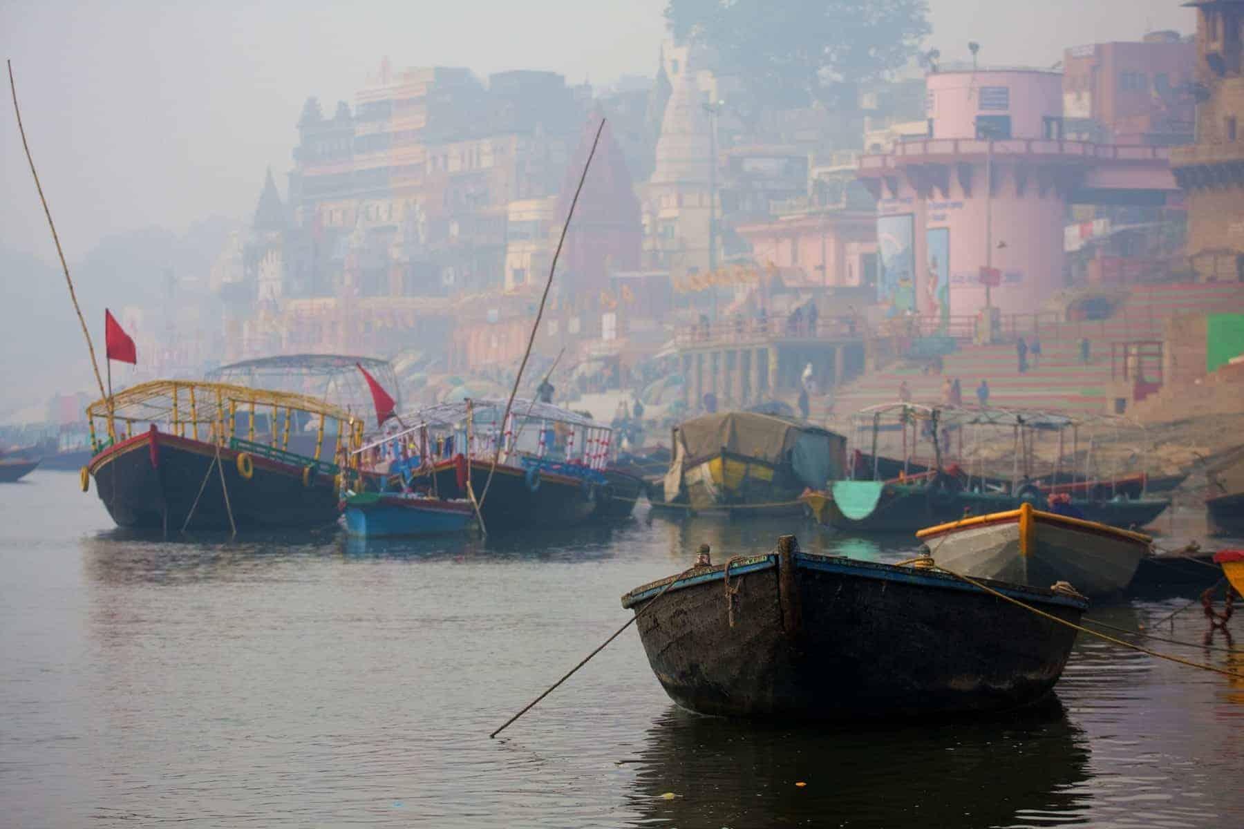 View of Varanasi city in India