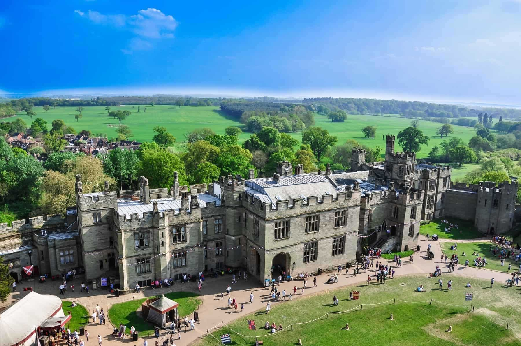View of Warwick castle on August 5, 2014 in Warwick. Warwick Castle is a medieval castle developed from an original built by William the Conqueror in 1068.